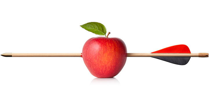 Image of an arrow fired straight through an apple