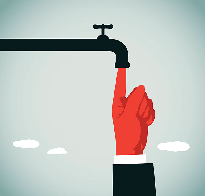 Illustration of a finger plugging a leaking tap.