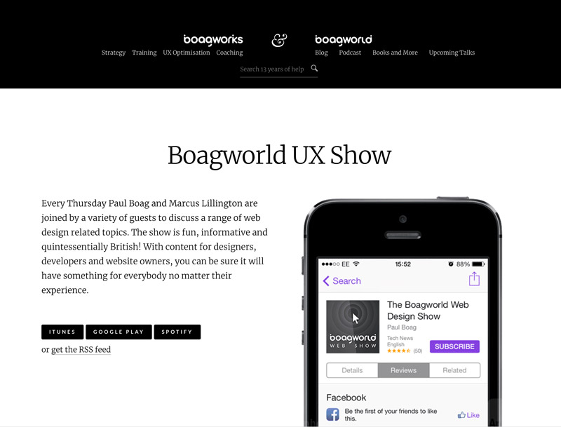 image of podcast website for boagworld