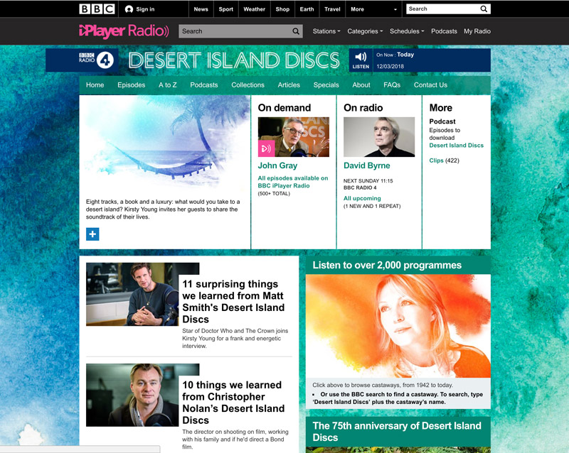 image of podcast website for desert island discs