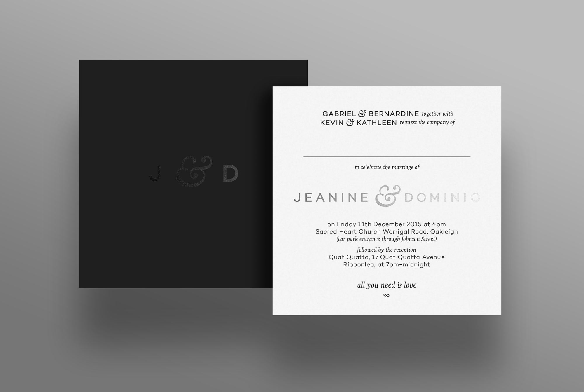 Wedding stationery for Jeanine and Dominic by Ben Stevens