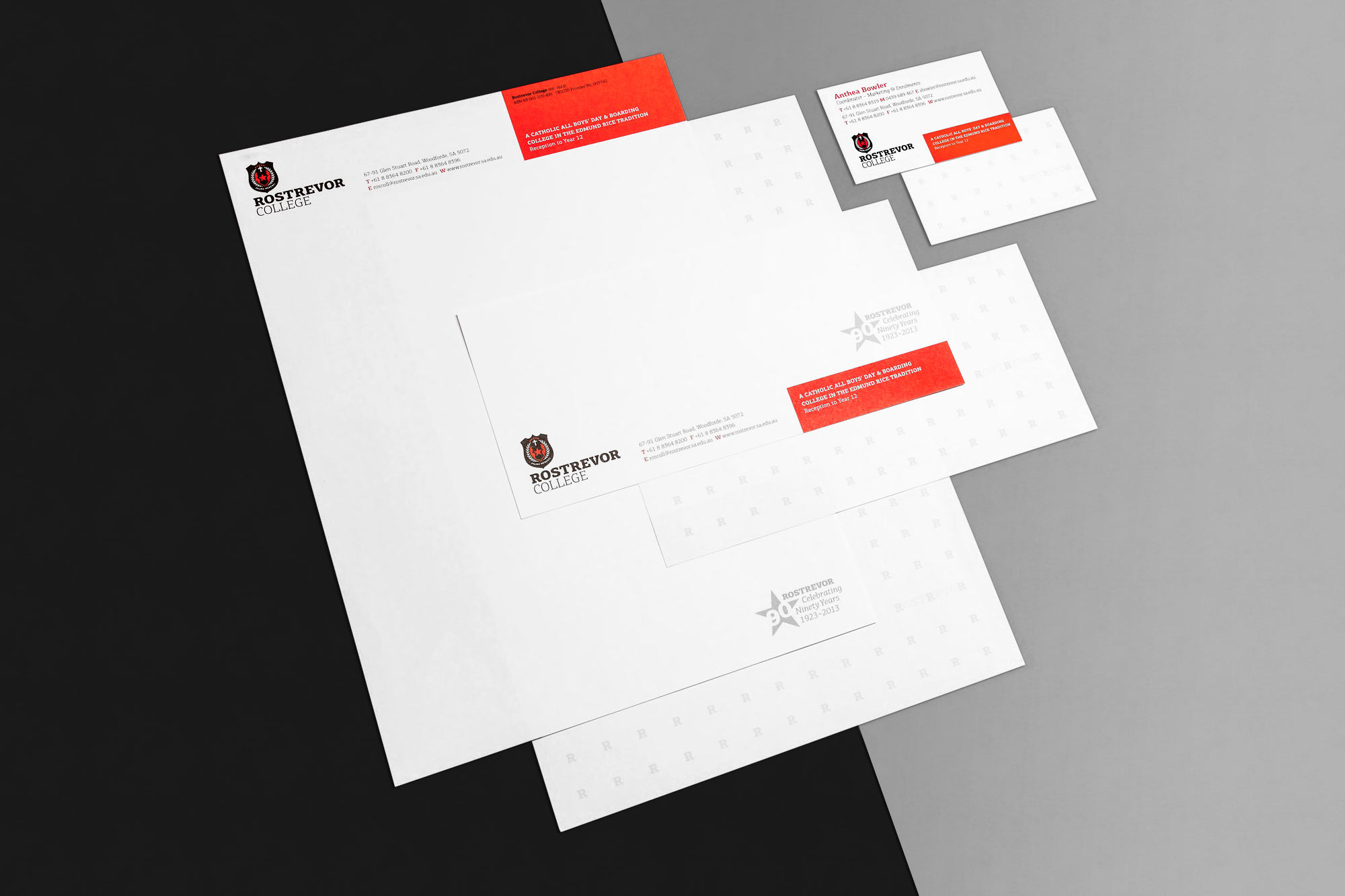 Rostrevor College stationery and branding image